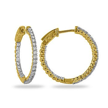 14K YG Diamond Inside Out Hoop Earring 4 Prong 25MM 1.00CTS