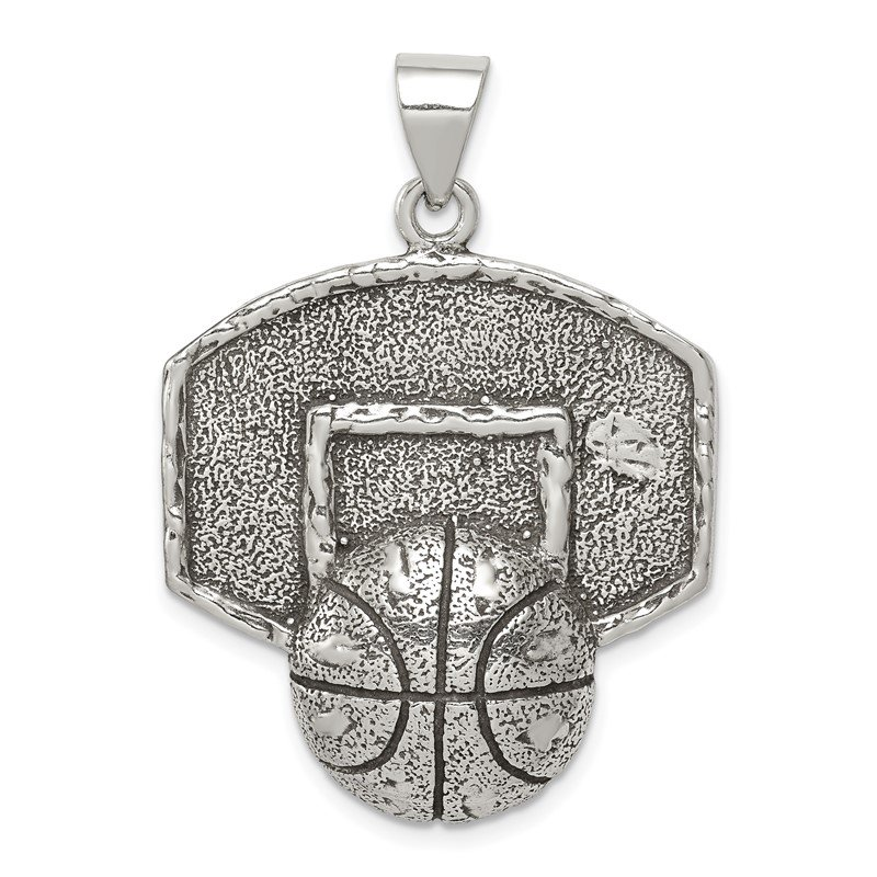 Quality Gold Sterling Silver Antiqued & Textured Basketball with Backboard Pendant