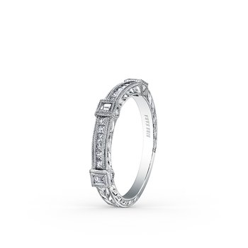 Engraved Detailed Diamond Wedding Band