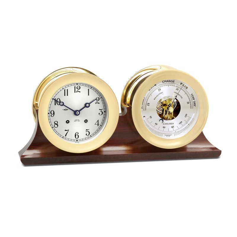 "Chelsea Clocks 4 1/2"" Ship's Bell Clock and Barometer in Brass on Double Base"