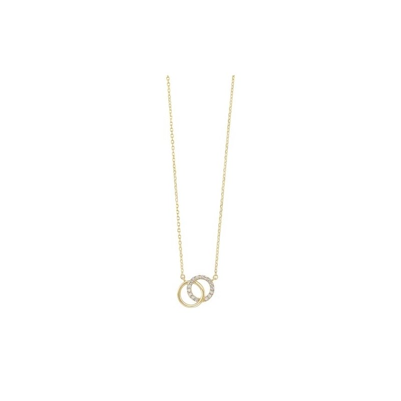 Gems One Diamond Double Eternity Circle Pendant Necklace in 14k Yellow Gold (0.08 ctw)