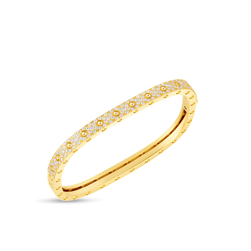 Roberto Coin 1 Row Square Bangle With Diamonds &Ndash; 18K Yellow Gold, M