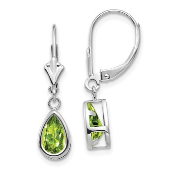 14k White Gold 8x5mm Pear Peridot Leverback Earrings