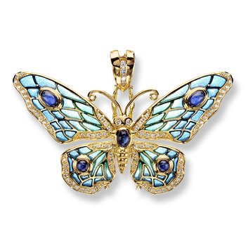 Blue Butterfly Pendant.18K -Diamond and Blue Sapphire - Plique-a-Jour