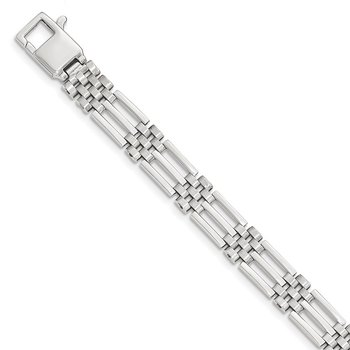 14k White Gold Brushed and Polished Link 8.5in Bracelet