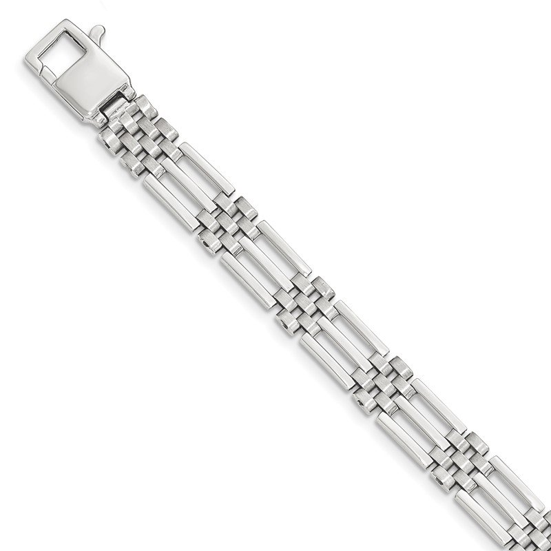 Quality Gold 14k White Gold Brushed and Polished Link 8.5in Bracelet