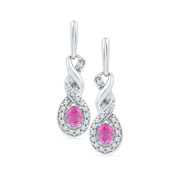 10kt White Gold Womens Oval Lab-Created Pink Sapphire Twist Dangle Earrings 5/8 Cttw