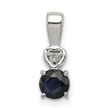 Sterling Silver Rhodium Plated Diamond & Sapphire Round Pendant