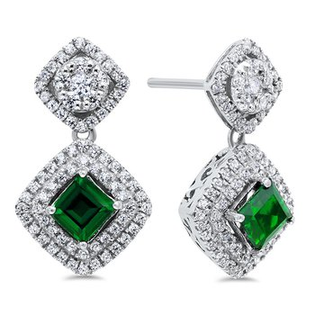Silver Created Emerald Earring