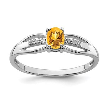 Sterling Silver Rhod-plated Diamond Citrine Ring