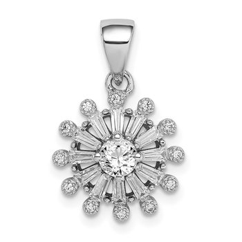 Sterling Silver Rhodium-plated CZ Baguette Snowflake Pendant