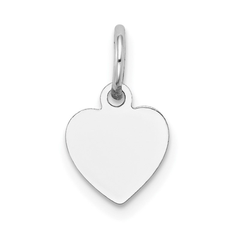 Quality Gold 14k White Gold Plain .009 Gauge Engravable Heart Charm