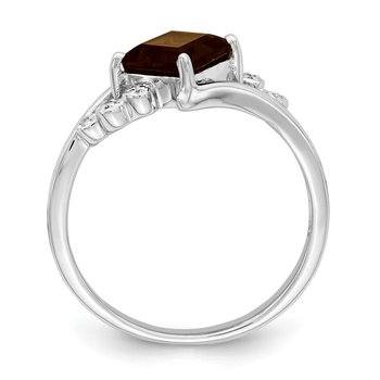 Sterling Silver Rhodium Princess-cut Smoky Quartz & Diamond Ring
