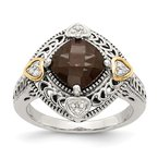 Shey Couture Sterling Silver w/14k Diamond & Smoky Quartz Ring