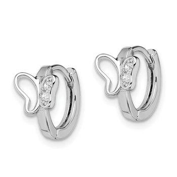 Sterling Silver Rhodium-plated Polished CZ Butterfly Hoop Earrings