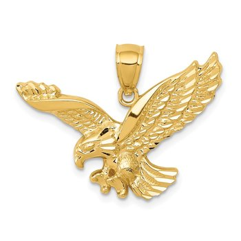 14k Gold Polished and Textured Eagle Pendant