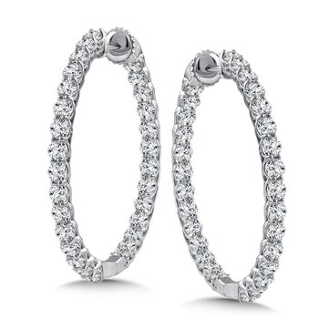 Diamond Reflection Hoops in 14K White Gold with Platinum Post (4.95 ct. tw.)