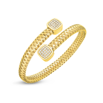 18Kt Gold Flexible Wrap Bangle With Diamonds