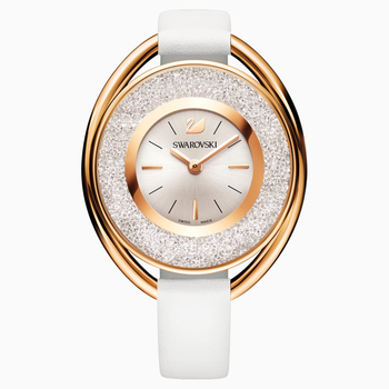 Crystalline Oval Watch, Leather strap, White, Rose-gold tone PVD