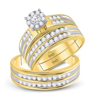 14kt Yellow Gold His & Hers Round Diamond Cluster Matching Bridal Wedding Ring Band Set 1-1/5 Cttw