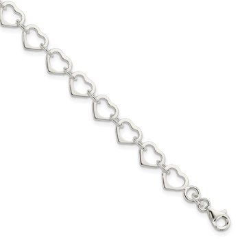 Sterling Silver Polished Heart Bracelet