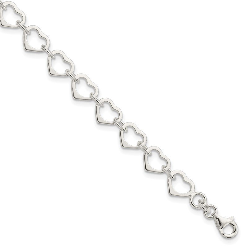 Quality Gold Sterling Silver Polished Heart Bracelet