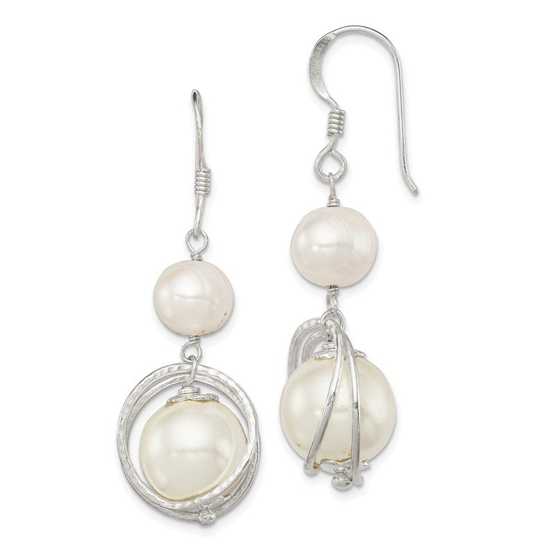 Quality Gold Sterling Silver White Freshwater Cultured/Shell Pearl Dangle Earrings