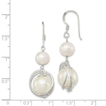 Sterling Silver White Freshwater Cultured/Shell Pearl Dangle Earrings