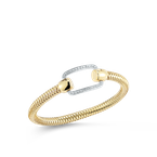 Roberto Coin Flexible Bangle With Pave Rectangle Station