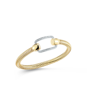 Flexible Bangle With Pave Rectangle Station