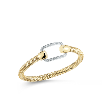 18Kt Gold Flexible Bangle With Rectangle Diamond Station