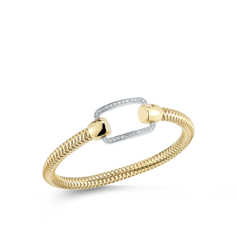Roberto Coin 18Kt Gold Flexible Bangle With Rectangle Diamond Station
