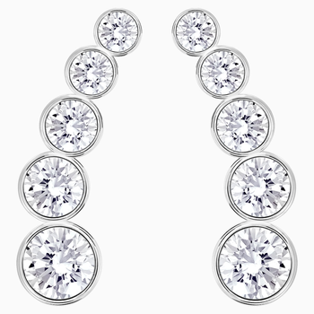 Harley Pierced Earrings, White, Rhodium plated