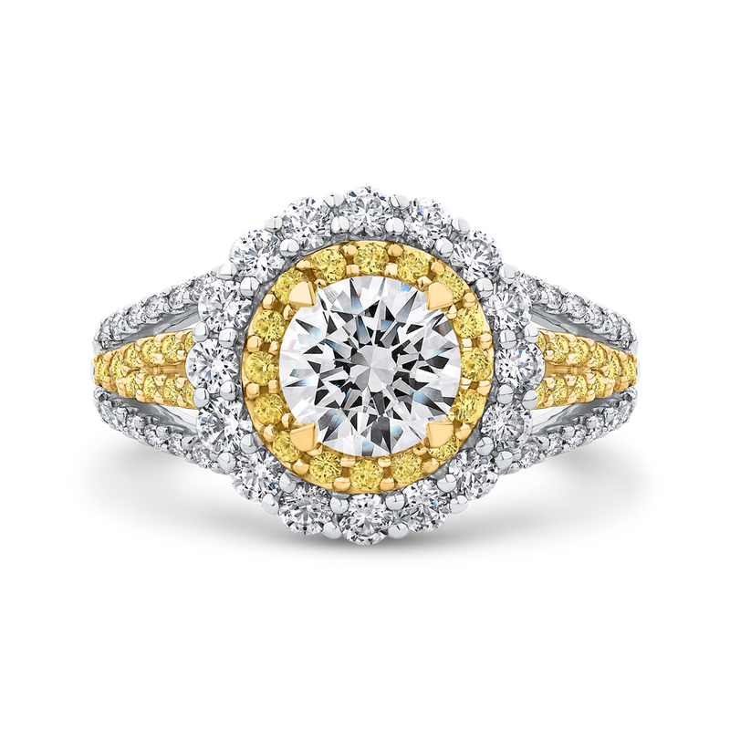 18K Two Tone Gold Round Diamond Double Halo Engagement Ring with Split Shank (Semi-Mount)