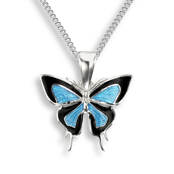Sterling Silver Necklace-Butterfly-Blue