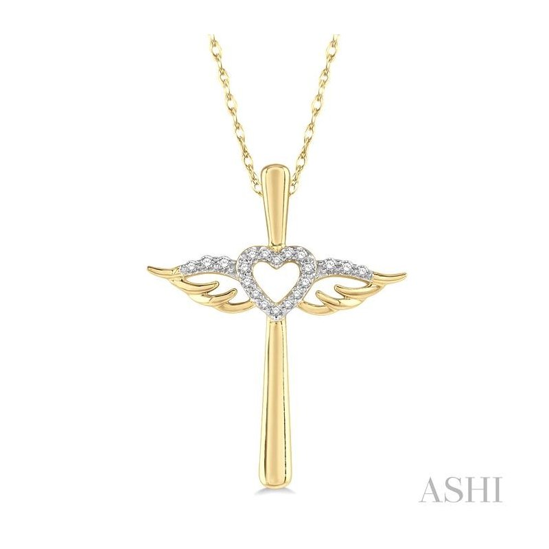 ASHI diamond angel wings heart shape & cross pendant