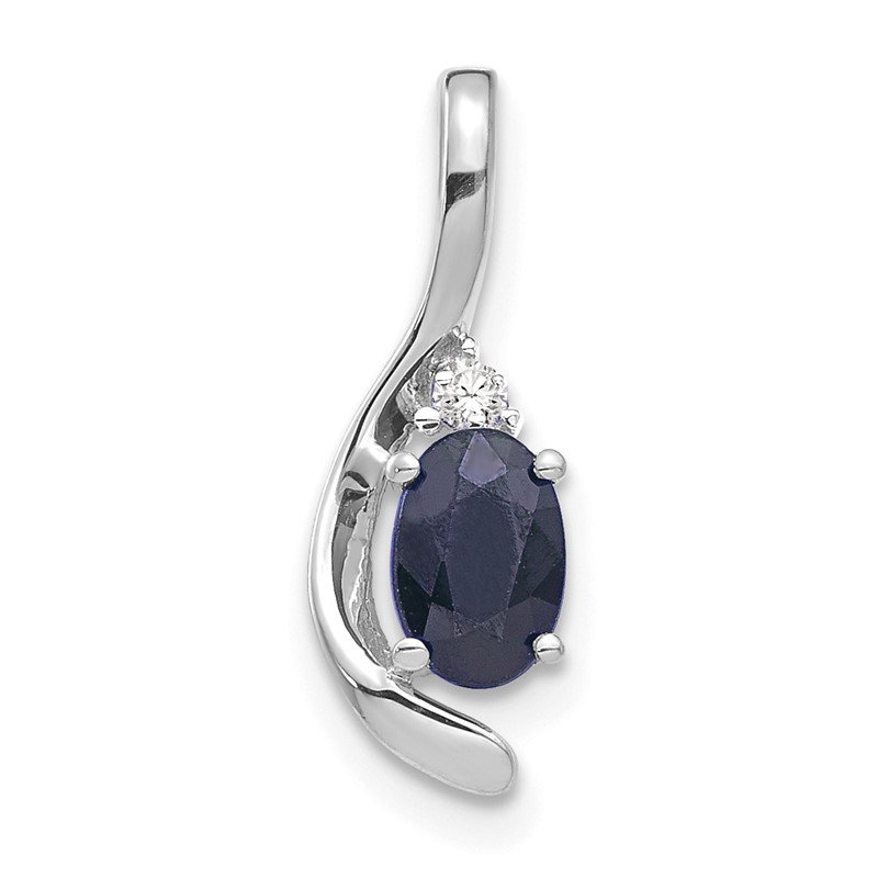 Quality Gold 14k White Gold Sapphire and Diamond Pendant