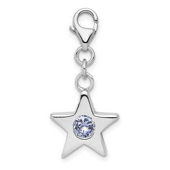 Sterling Silver Rhodium-plated June CZ Birthstone Star Charm