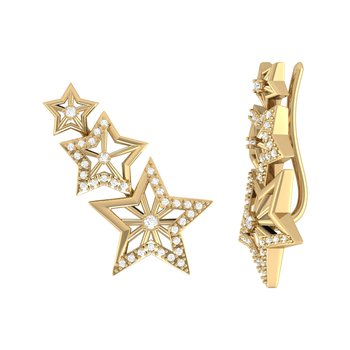 Starburst Ear Climbers in 14 KT Yellow Gold Vermeil on Sterling Silver