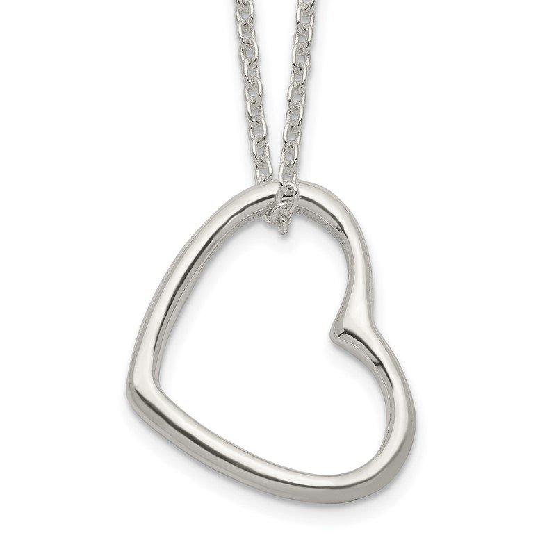 Quality Gold Sterling Silver Heart 14 IN w/2 In EXT Necklace