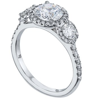 Three Stone Diamond Pave Engagement Ring