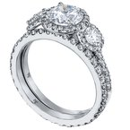 Mark Patterson Three Stone Diamond Pave Engagement Ring