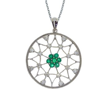 14k White Gold Emerald and Diamond Spider Web Pendant