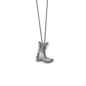 18Kt Gold Western Boot Pendant With Diamonds