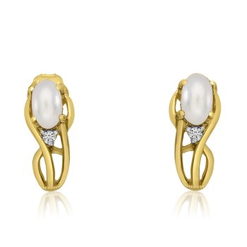 14K Yellow Gold Curved Freshwater Cultured Pearl and Diamond Earrings