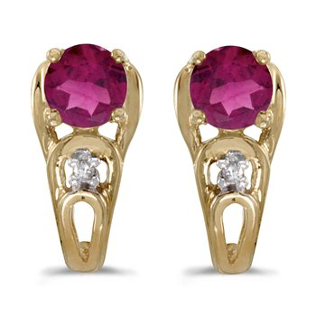 14k Yellow Gold Round Rhodolite Garnet And Diamond Earrings