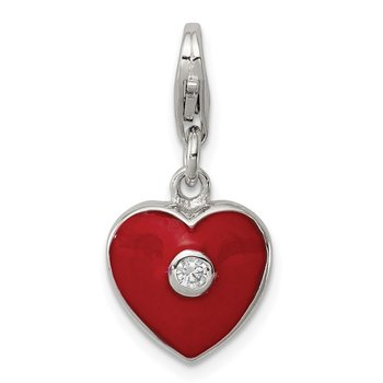 Sterling Silver Red Enameled CZ Heart Charm