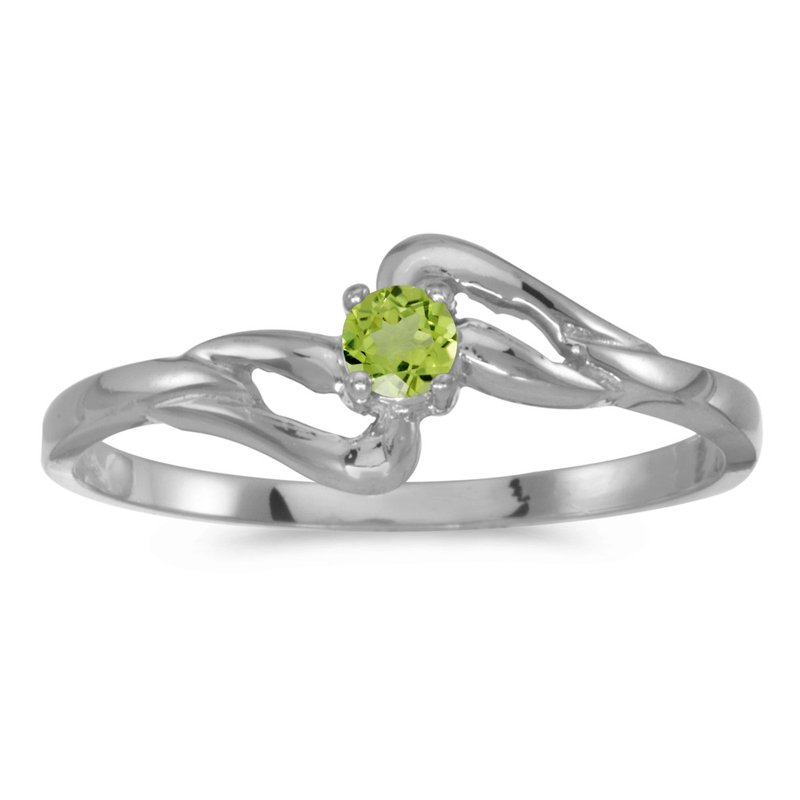 Color Merchants 10k White Gold Round Peridot Ring