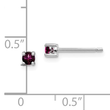 Sterling Silver 3mm Round Rhodolite Garnet Post Earrings
