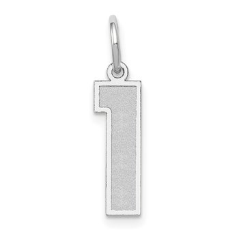 14k White Gold Medium Satin Number 1 Charm